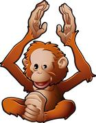 cute orang-utan vector illustration - stock illustration