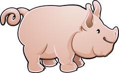 Cute pig farm animal vector illustration Piirros