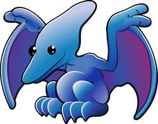 cute pterodactyl - stock illustration