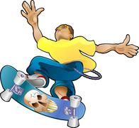 Teen youth cliques skater Stock Illustration