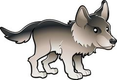 cute wolf vector illustration - stock illustration