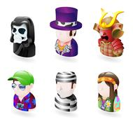 avatar people internet icon set - stock illustration