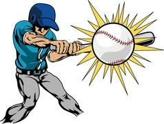 Illustration of baseball player hitting baseball Stock Illustration