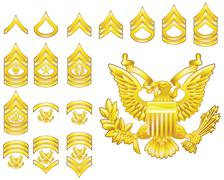 american army enlisted rank insignia icons - stock illustration