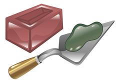 Stock Illustration of brick mortar and trowel illustration