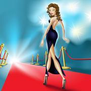 beautiful elegant woman on the red carpet - stock illustration