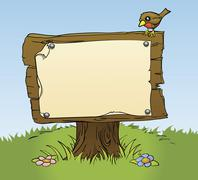 A rustic wooden sign Stock Illustration