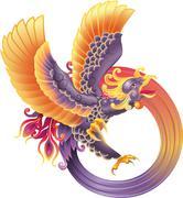 phoenix fire bird - stock illustration