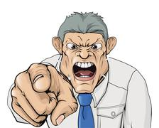 bullying boss shouting and pointing - stock illustration