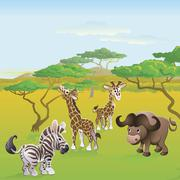 Cute african safari animal cartoon scene Stock Illustration