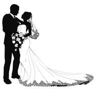 bride and groom silhouette - stock illustration