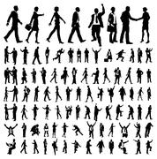 Very many high quality business people silhouettes Stock Illustration