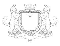 cat pets heraldic shield coat of arms - stock illustration