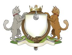 cat pets heraldic shield coat of arms - stock illustration