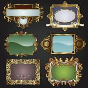 vintage retro gold frames and labels - stock illustration