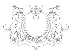 dog pets heraldic shield coat of arms - stock illustration
