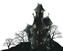 scary haunted house and trees illustration - stock illustration