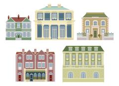 luxury old fashioned houses buildings - stock illustration
