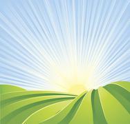 idyllic green fields with sunshine rays and blue sky - stock illustration