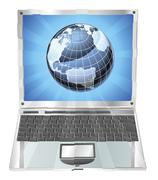 laptop globe concept - stock illustration