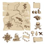make your own fantasy or treasure maps - stock illustration