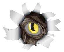 creature looking through tear - stock illustration