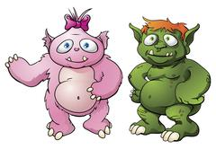 Cute monster cartoon characters Stock Illustration