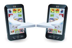 Stock Illustration of smartphones communicating