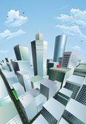 Stock Illustration of modern cityscape of city centre financial district