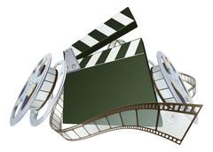 film clapperboard and movie film reels - stock illustration