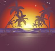 Illustration of a beautiful beach scene at sunset Stock Illustration