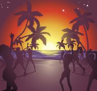 Sunset beach party illustration Piirros