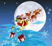 Santa in his sled Piirros