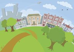 Nice urban scene with park and houses Stock Illustration