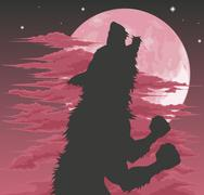 Werewolf silhouette howling at moon Piirros