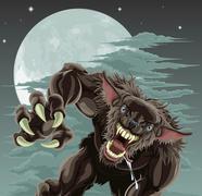 Werewolf moon illustration Stock Illustration