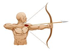 strong archer with bow and arrow - stock illustration