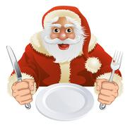 santa claus seated for christmas dinner - stock illustration