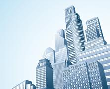 financial distrait urban city scape - stock illustration