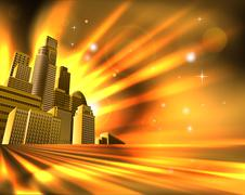 orange skyscraper background - stock illustration