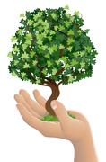 hand holding a growing tree - stock illustration