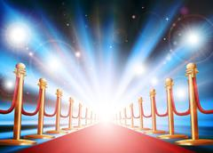 grand entrance with red carpet and flash lights - stock illustration