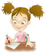 young girl writing at her desk - stock illustration