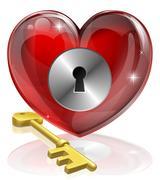Stock Illustration of heart lock and key
