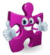 Jigsaw piece cartooon man Stock Illustration