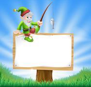 Garden gnome or elf sign Stock Illustration