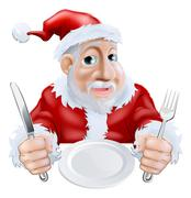 happy cartoon santa ready for christmas dinner - stock illustration