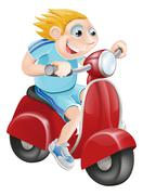 Happy man on his moped Stock Illustration