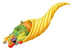 Cornucopia horn full of fresh produce food Stock Illustration