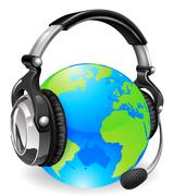 Help desk headset world globe Stock Illustration